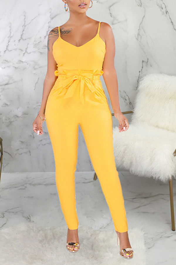 Lovely Casual Skinny Lace-up Yellow One-piece Jumpsuit