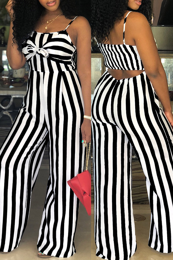 Lovely Women's Spaghetti Straps Striped Hollow-out Black One-piece Jumpsuit