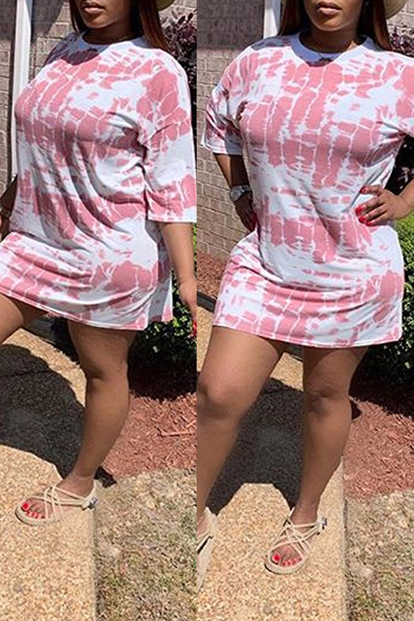 Lovely Casual O Neck Printed Pink Mini Dress