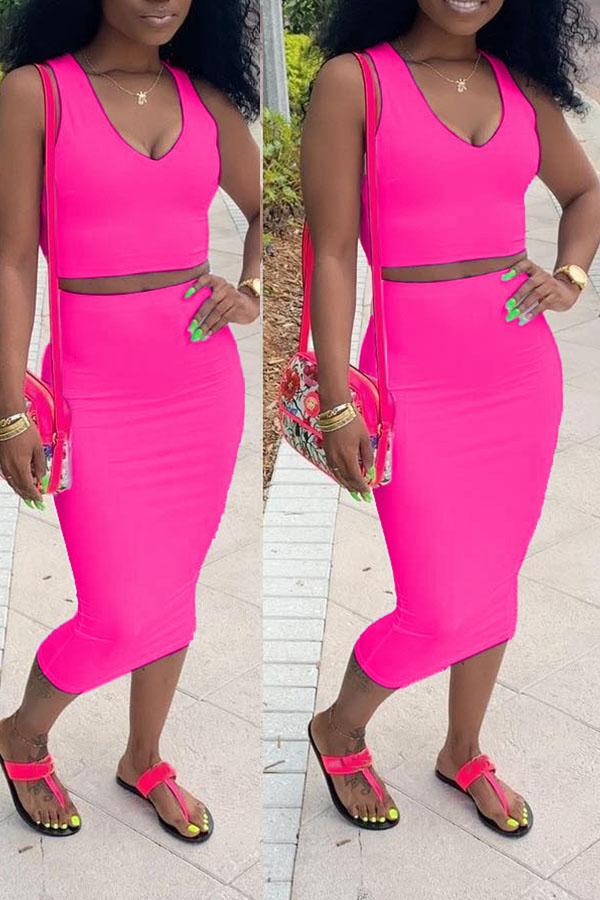 Lovely Casual V Neck Sleeveless Rose Red Two-piece Skirt Set