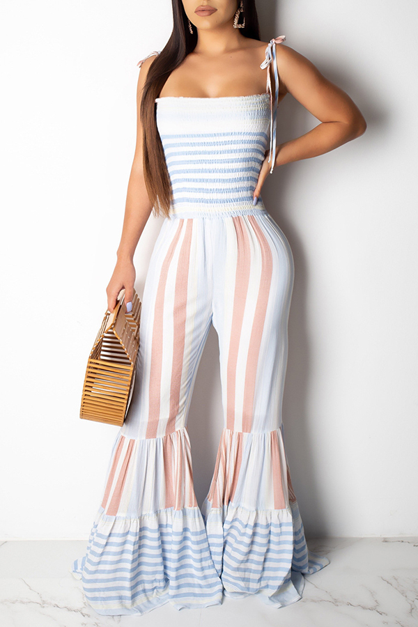 Lovely Bohemian Striped Baby Blue Horn-type One-piece Jumpsuit