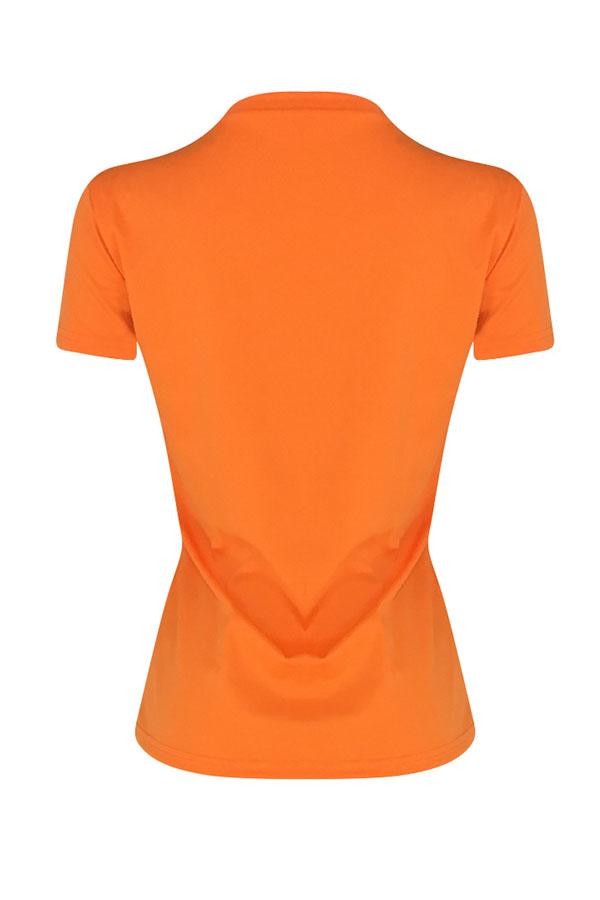 Lovely Leisure Pearls Decoration Orange T-shirt