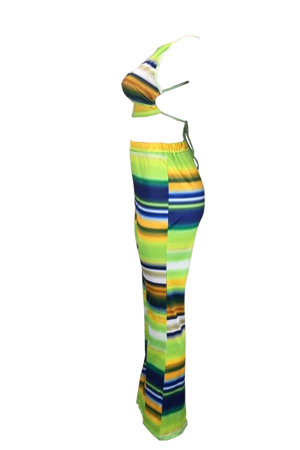 Precioso Conjunto De Pantalones De Dos Piezas A Rayas Verdes Sin Espalda Sexy