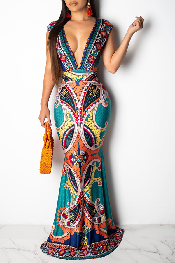 Lovely Sexy Deep V Neck Printed Green Floor Length Dress