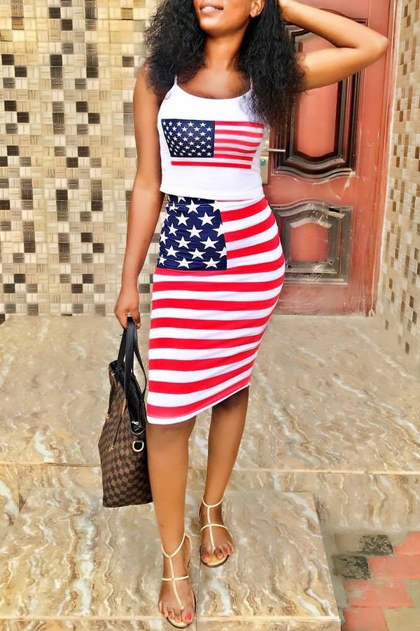 Lovely Independence Day Casual Spaghetti Strap Printed White Two-piece Skirt Set