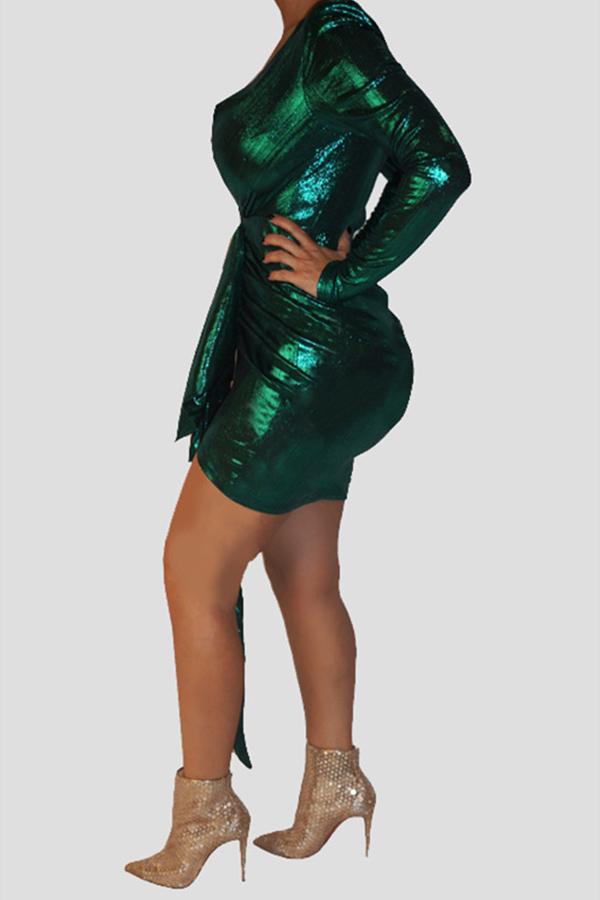 Lovely Trendy Asymmetrical Green Mini Dress