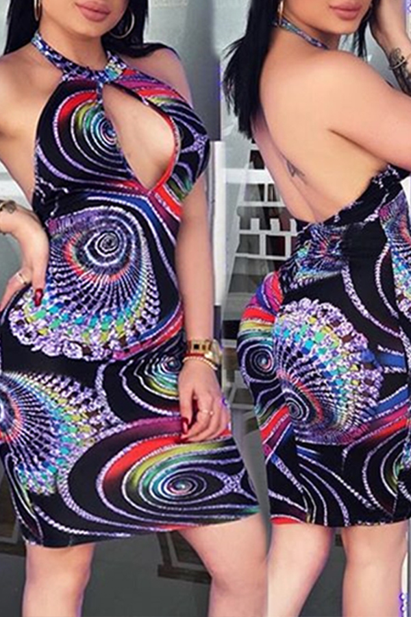 Lovely Sexy Halter Neck Printed Multicolor Mini A Line Dress
