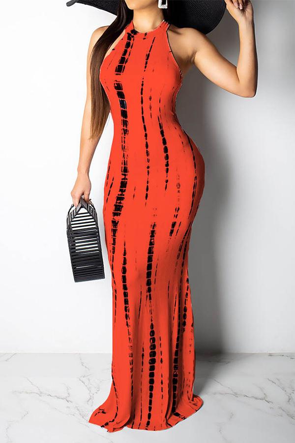 Lovely Casual Tank Sleeveless Orange Floor Length Dress