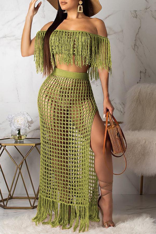 Lovely Off The Shoulder Tassel Design Green Cover-up(Top+Bottoms)