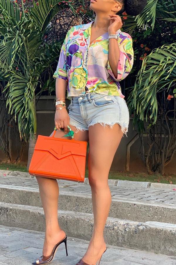Lovely Chic Turndown Collar Printed Blouse
