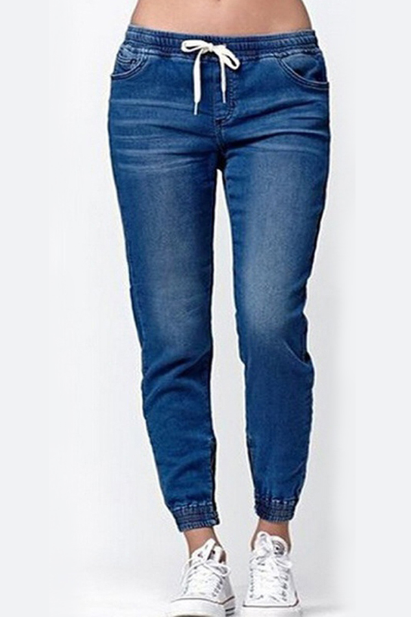 Lovely Casual Drawstring Deep Blue Jeans
