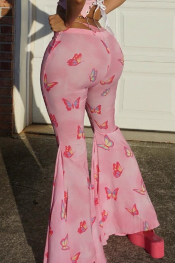 Lovely Trendy Printed Light Pink Flares Pants