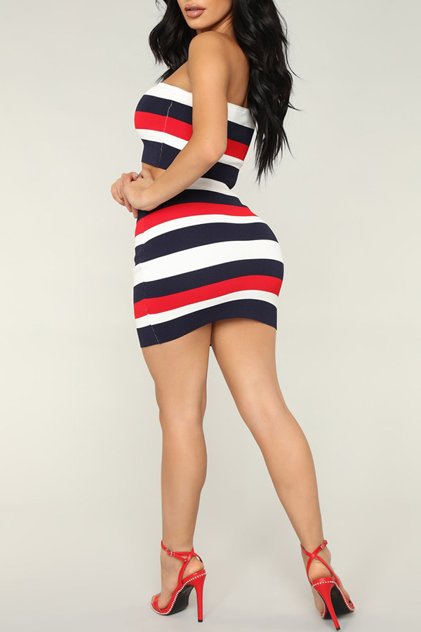 Lovely Casual Off The Shoulder Striped Printed Red Two-piece Skirt Set