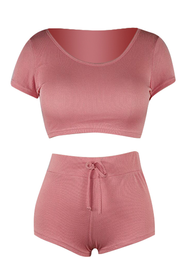 Lovely Casual Hooded Collar Pink Two-piece Shorts Set