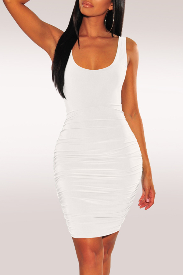 Lovely Sexy Backless White Knee Length A Line Dress