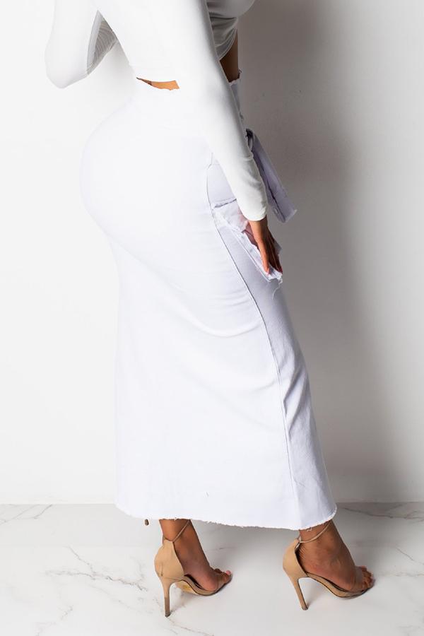Lovely Casual Pocket Decoration White Denim Ankle Length A Line Skirt