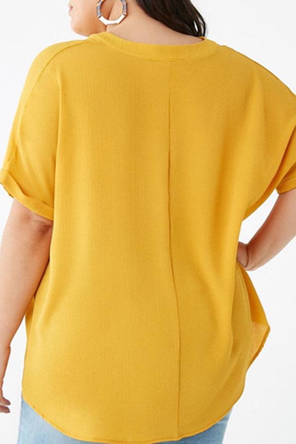 Lovely Casual V Neck Asymmetrical Yellow Blouse