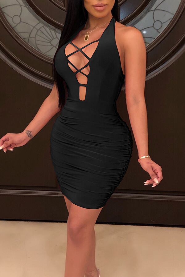 Lovely Sexy Deep V Neck Hollow-out Black Mini Dress