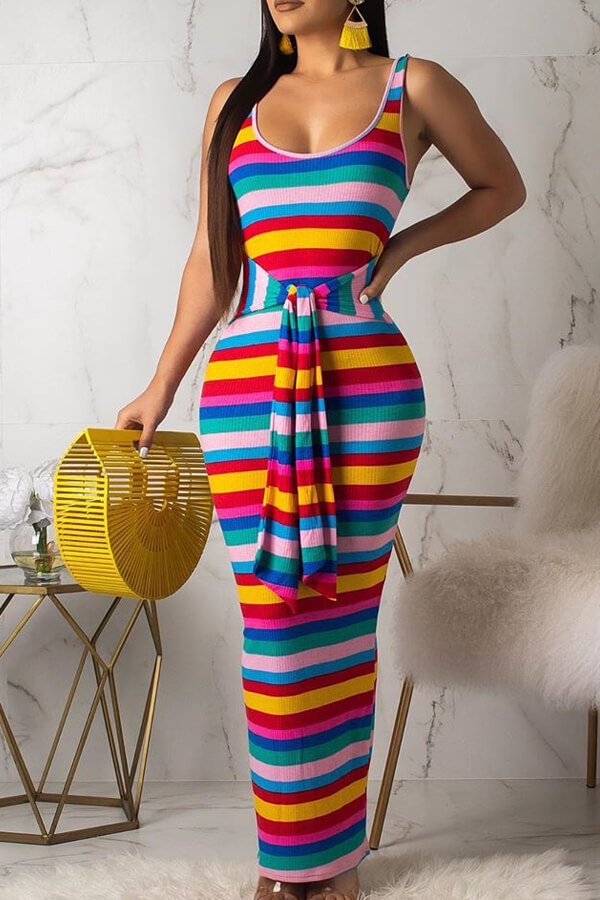 Lovely Casual U Neck Striped Yellow Ankle Length Dress