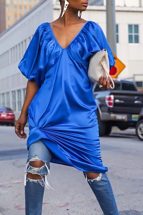 Lovely Casual V Neck Asymmetrical Deep Blue Knee Length Dress