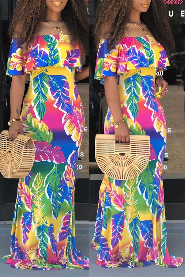 Lovely Casual Off The Shoulder Printed Multicolor Floor Length Mermaid Dress