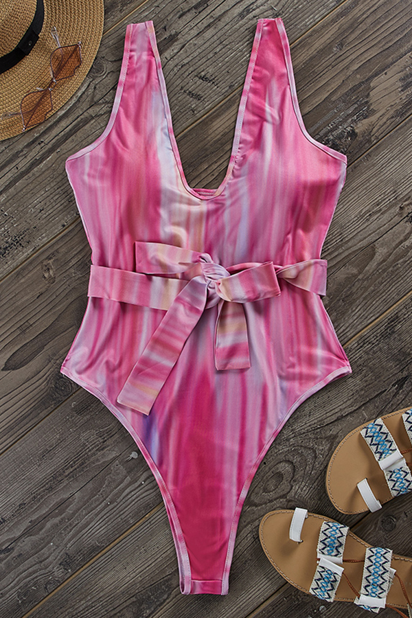 Lovely Sexy Deep V Neck Lace-up Pink One-piece Swimsuit