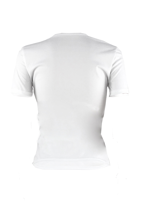 Lovely Chic Lip Printed  White T-shirt