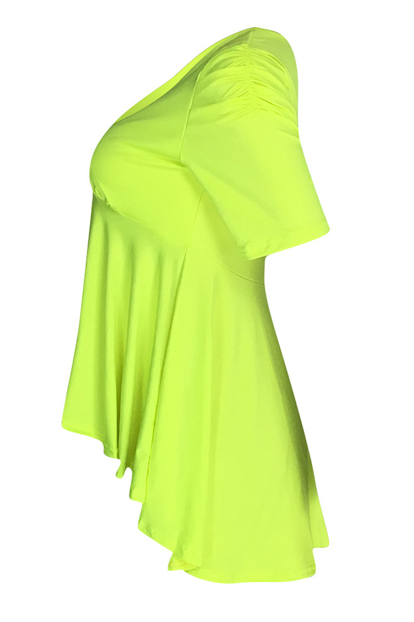 Lovely Casual Ruffle Design Green Blouse
