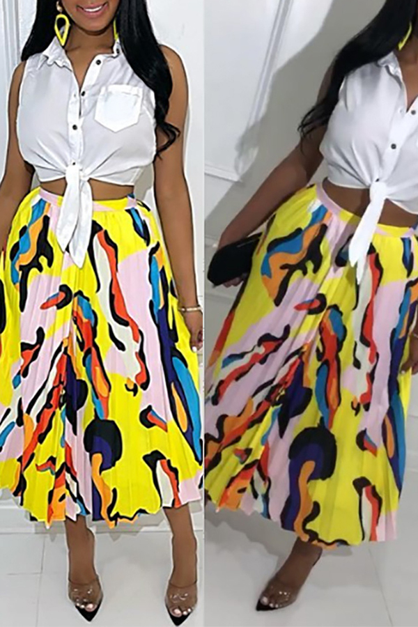 Lovely Casual Printed Yellow Ankle Length A Line Skirt