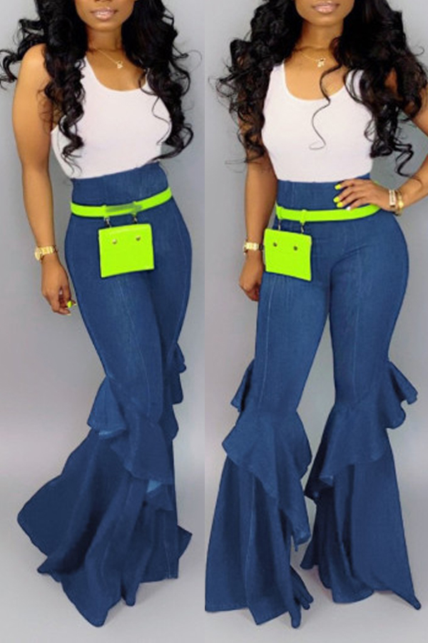 Lovely Casual High Waist Ruffle Design Blue Jeans(Without Accessories)