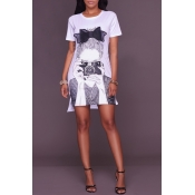 Lovely Leisure Short Sleeve Printed White Mini Dre