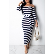 Lovely Casual Off The Shoulder Striped Dark Blue A
