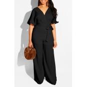Lovely Work V Neck Lace-up Black One-piece Loose Jumpsuit