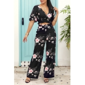 Lovely[Presale] Stylish Floral Printed Black Two-p