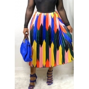 Lovely Stylish Printed Patchwork Green A Line Skirt