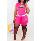 Lovely Casual O Neck Letter Printed Pink Two-piece Shorts Set