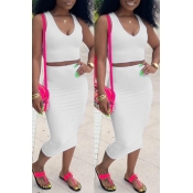 Lovely Casual V Neck Sleeveless White Two-piece Sk
