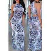 Lovely Trendy O Neck Printed Hollow-out Floor Leng