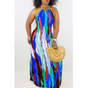 Lovely Sexy Halter Neck Printed Blue Floor Length A Line Dress(With Elastic)