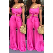 Lovely Casual Knot Design Rose Red Two-piece Pants Set