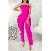 Lovely Stylish Off The Shoulder Ruffle Design Rose Red One-piece Jumpsuit