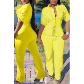 Lovely Casual O Neck Half Sleeve Yellow One-piece Jumpsuit