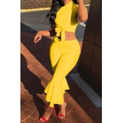Lovely Stylish O Neck Horn-type Yellow Two-piece Pants Set