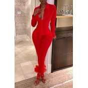 Lovely Sexy V Neck See-through Red Two-piece Pants Set