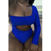 Lovely One Shoulder Hollow-out Royal Blue One-piec
