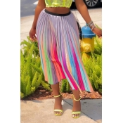 Lovely Sweet Printed Multicolor Mid Calf A Line Sk
