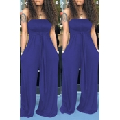 Lovely Casual Off The Shoulder Blue One-piece Jumpsuit