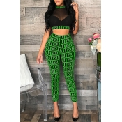 Lovely Casual O Neck Printed See-through Green Two-piece Pants Set