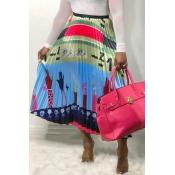 Lovely Stylish Printed Skyblue A Line Skirt