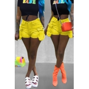 Lovely Chic Pockets Design Yellow Shorts